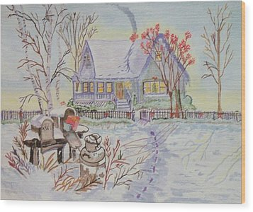 Snow In Oregon Wood Print by Connie Valasco