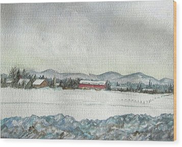 Snow In The Berkshires Wood Print by Judy Riggenbach