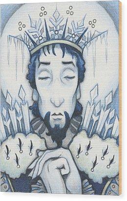 Snow King Slumbers Wood Print by Amy S Turner