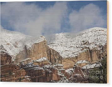 Wood Print featuring the photograph Snow Kissed Morning In Sedona, Az by Sandra Bronstein