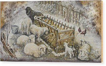 Snow Lambs Wood Print by Sorin Apostolescu