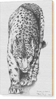 Snow Leopard Wood Print by Bob Patterson