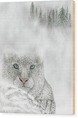 Wood Print featuring the digital art Snow Leopard by Darren Cannell