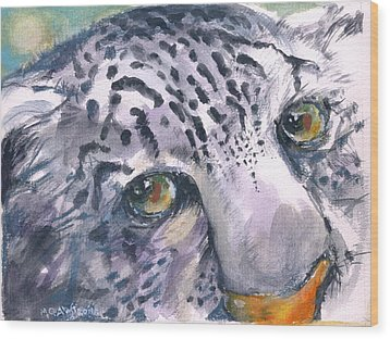 Snow Leopard Wood Print by Mary Armstrong