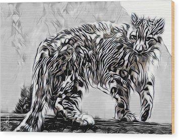 Wood Print featuring the digital art Snow Leopard by Pennie McCracken