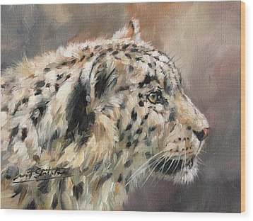 Wood Print featuring the painting Snow Leopard Study by David Stribbling