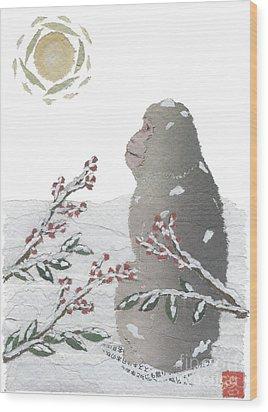 Snow Monkey And Sunrise  Wood Print by Keiko Suzuki