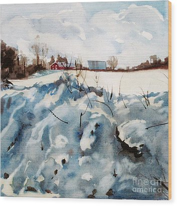 Wood Print featuring the painting Snow On Southwick by Elizabeth Carr