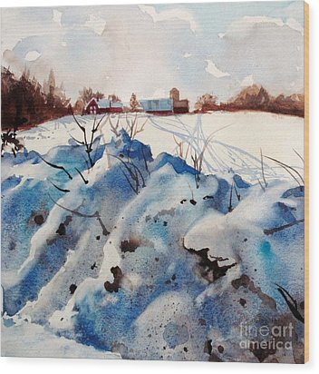 Snow On Southwick I Wood Print by Elizabeth Carr