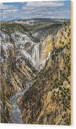 Snow On The Falls Wood Print by Yeates Photography