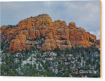 Snow On The Red Rocks Wood Print by Jon Burch Photography