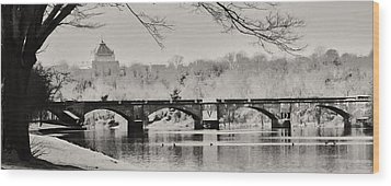 Snow On The River Wood Print by Bill Cannon