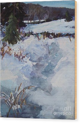 Wood Print featuring the painting Snow Path by Diane Ursin