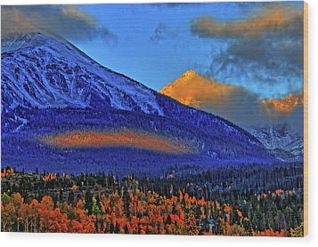 Wood Print featuring the photograph Snow Peak Fall by Scott Mahon