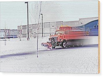 Snow Plow In Business Park 1 Wood Print by Steve Ohlsen