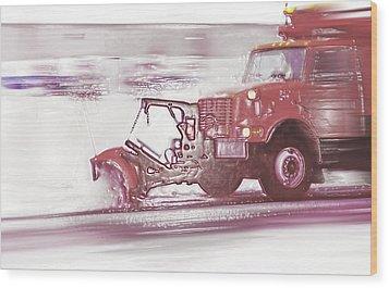 Snow Plow In Business Park 2 Wood Print by Steve Ohlsen