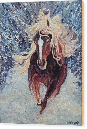 Snow Pony Wood Print by Gill Bustamante