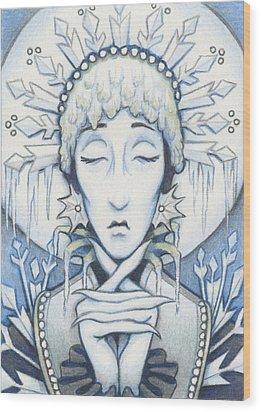Snow Queen Slumbers Wood Print by Amy S Turner