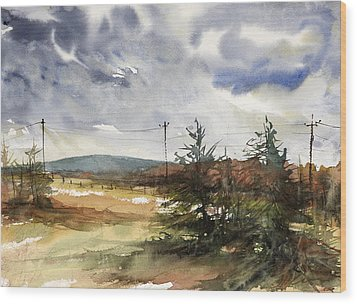 Snow Sky In Fall Wood Print by Judith Levins