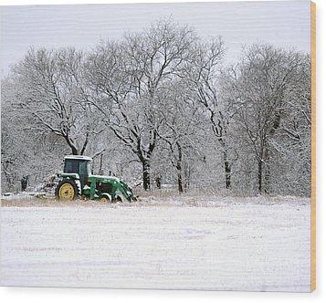 Snow Tractor Wood Print
