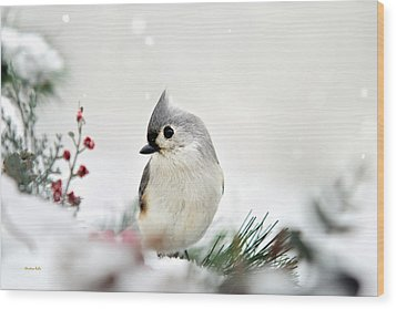 Snow White Tufted Titmouse Wood Print