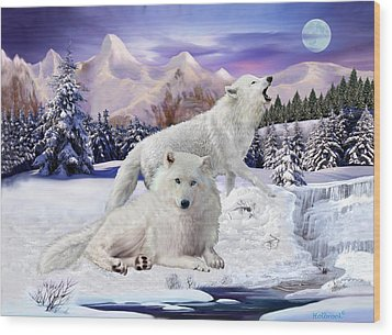 Snow Wolves Of The Wild Wood Print by Glenn Holbrook
