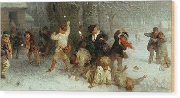 Snowballing Wood Print by John Morgan