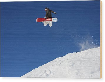 Snowboarder In Serre Chevalier France Wood Print by Pierre Leclerc Photography