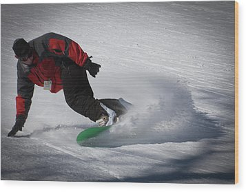 Wood Print featuring the photograph Snowboarder On Mccauley by David Patterson