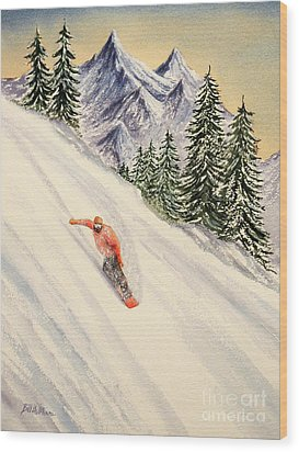 Wood Print featuring the painting Snowboarding Free And Easy by Bill Holkham