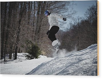 Wood Print featuring the photograph Snowboarding Mccauley Mountain by David Patterson