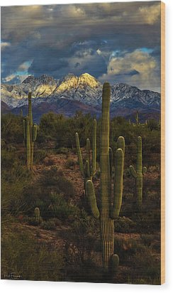 Snowcapped Four Peaks Wood Print