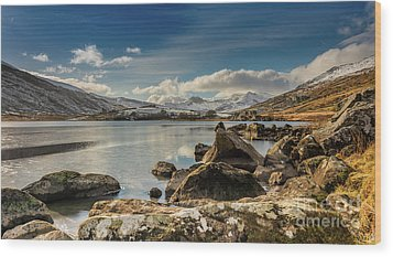 Wood Print featuring the photograph Snowdon From Llynnau Mymbyr by Adrian Evans