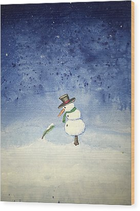 Snowfall Wood Print by Antonio Romero