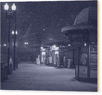 Snowfall In Harvard Square Cambridge Ma Kiosk Monochrome Blue Wood Print