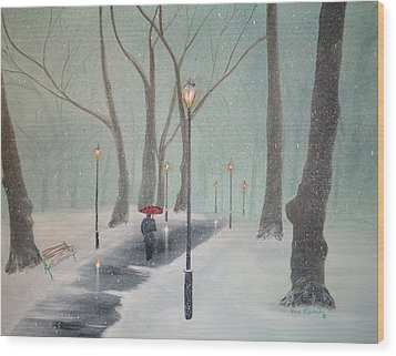 Snowfall In The Park Wood Print