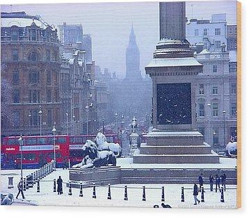 Snowfall Invades London Wood Print by Christopher Robin