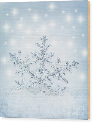 Snowflake Background Wood Print