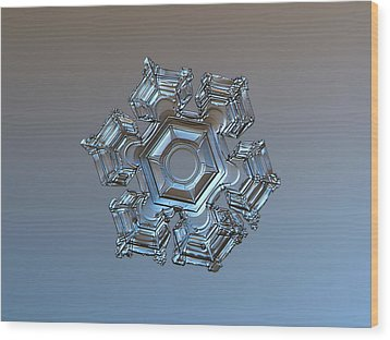 Snowflake Photo - Cold Metal Wood Print by Alexey Kljatov