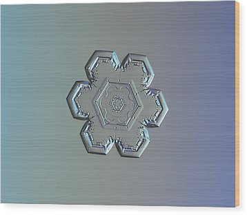 Snowflake Photo - Flower Within A Flower Wood Print by Alexey Kljatov