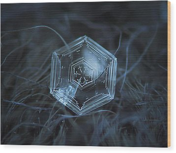 Wood Print featuring the photograph Snowflake Photo - Hex Appeal by Alexey Kljatov