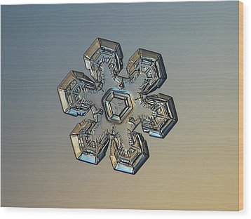Wood Print featuring the photograph Snowflake Photo - Massive Gold by Alexey Kljatov