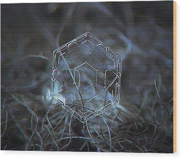 Snowflake Photo - Molten Glass Wood Print by Alexey Kljatov