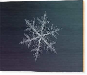 Wood Print featuring the photograph Snowflake Photo - Neon by Alexey Kljatov
