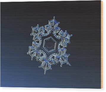 Wood Print featuring the photograph Snowflake Photo - Spark by Alexey Kljatov