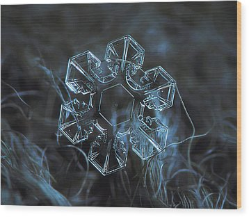 Wood Print featuring the photograph Snowflake Photo - The Core by Alexey Kljatov