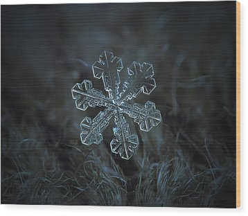 Wood Print featuring the photograph Snowflake Photo - Vega by Alexey Kljatov