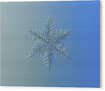 Wood Print featuring the photograph Snowflake Photo - Winter Is Coming by Alexey Kljatov