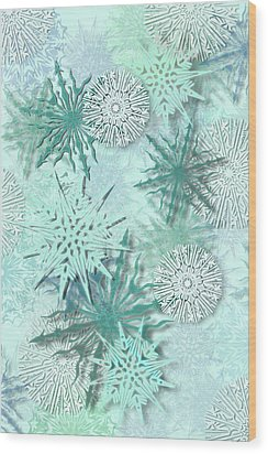 Snowflakes Wood Print by AugenWerk Susann Serfezi