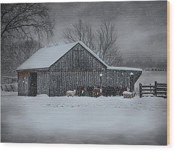 Snowflakes On The Farm Wood Print